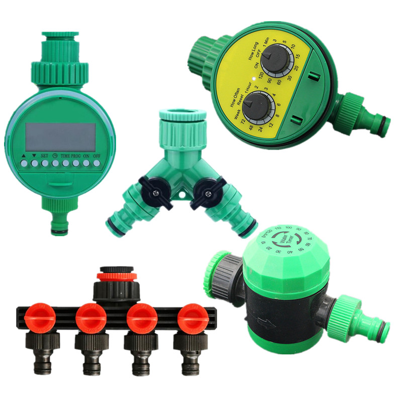 Automatic Garden Watering Timer With 4-Ways Distributor Electronic LCD Display Water Controller Watering Irrigation System
