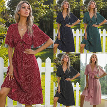 OLOMLB 2021 Summer New Fashion Casual Sexy Deep V Neck Ladies Short Sleeve Dresses Bow Empire Buttons Wave Point Hollow Out Lady