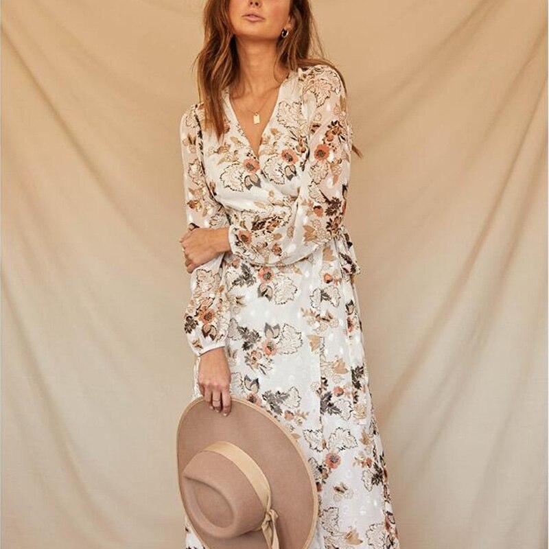 Women Dress Casual Spring Flower Print V-neck Long-sleeved Dress Belt Decoration Vestidos