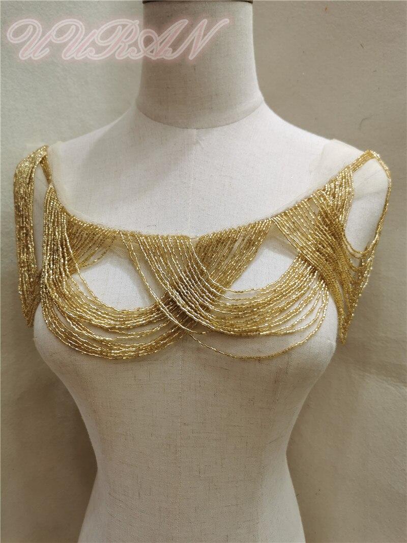 Black silver beaded fringes trim for clothing Gold beaded tassel trim for apparel designer bead tassel trim fringe