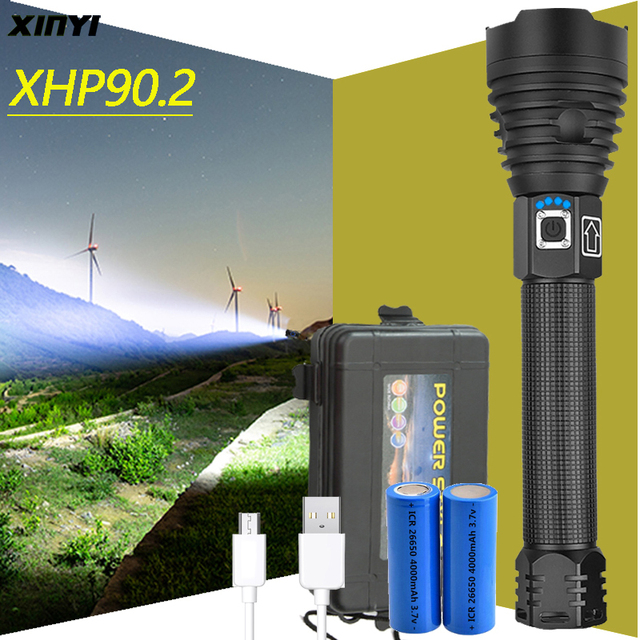 Most Powerful  XHP90 led flashlight 90000LM  Tactical waterproof Torch 3 modes Zoomable Hunting camping lamps By 18650 or 26650 1