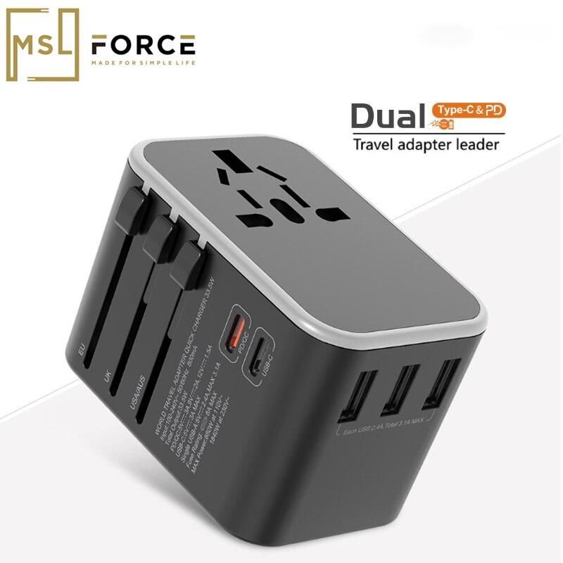 Универсальный дорожный адаптер двойной тип C QC PD зарядное устройство для путешествий настенные электрические вилки розетки конвертер для Е...