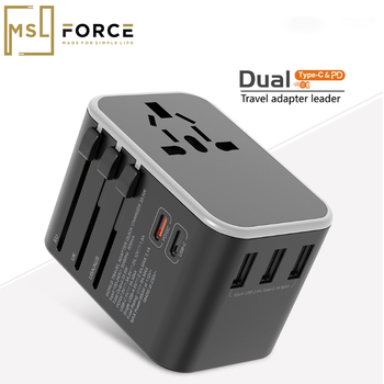 цена на Dual Type C PD QC USB All in one charger adapter for travel with EU US UK AU plug universal travel power charger sockets