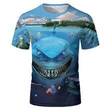 2020 engraçado t-shirts harajuku tubarão branco t camisa casuall estilo digital peixe manga curta 3d impressão sandbeach t camisa