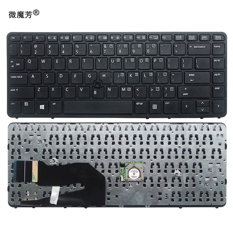 US FOR <font><b>HP</b></font> For EliteBook 840 <font><b>G1</b></font> <font><b>850</b></font> <font><b>G1</b></font> ZBook 14 Black New English Replace laptop keyboard Without backlight With pointing sticks image