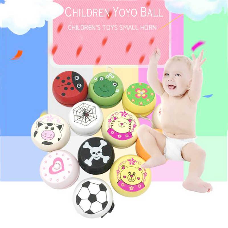 น่ารักสัตว์พิมพ์ไม้ Yoyo ของเล่น Ladybug ของเล่นเด็ก Yo-Yo Creative Yo Yo ของเล่นสำหรับเด็กเด็ก YOYO ball 2020 ใหม่