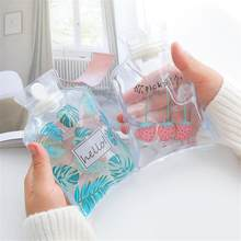 Small Transparent Hot Water Bottle Cartoon Simple Winter Warm Water Bag Student Portable Mini Injection Hot Water Bag bouillotte(China)