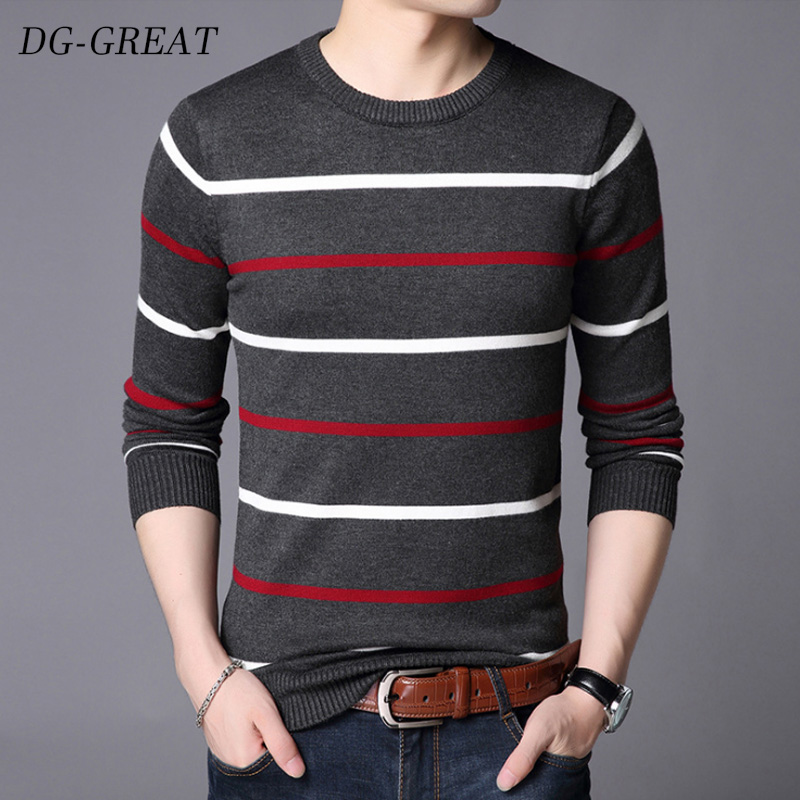 Autumn Winter Sweater New Arrival Slim Fit Knittwea Cashmere Wool Sweater Men Casual Striped O-neck Pullover Men Brand Clothing