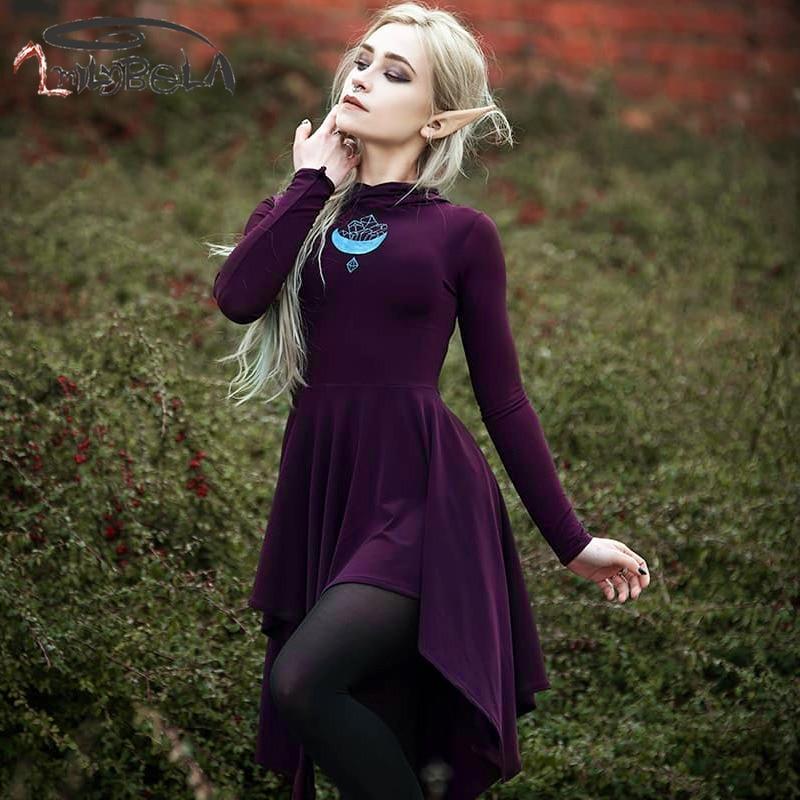 Imily Halloween Hooded Mini Dress Women Asymmetrical Draped Long Sleeve Empire Dress Elegant Print Purple A-line Vestidos Autumn