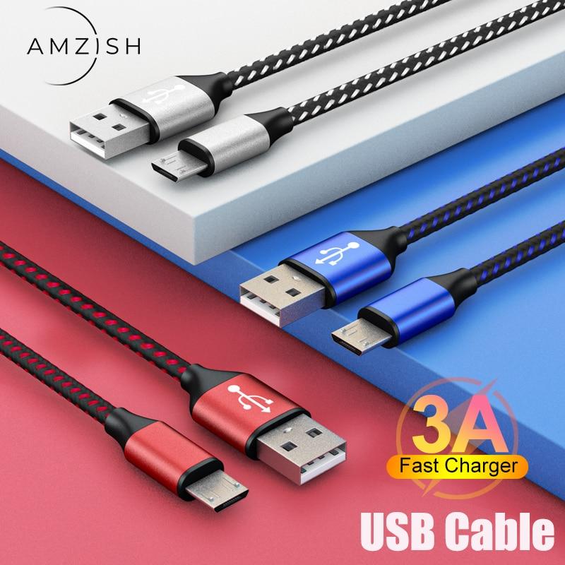 Amzish câble Micro USB 3A de 2m pour recharge rapide, cordon de données pour téléphone portable, compatible avec Samsung Xiaomi et Android