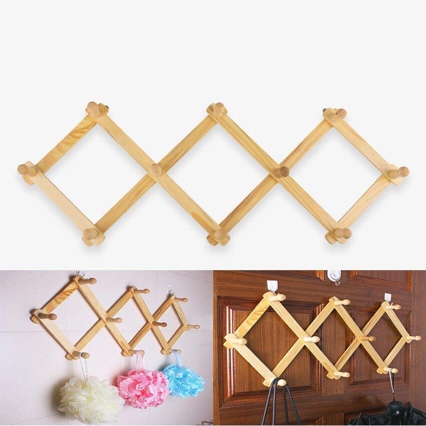 Retractable Hanger Hook Door Behind The Wall Wooden Hook Coat Hook Original Wooden Folding Diamond Large Loat Hanging
