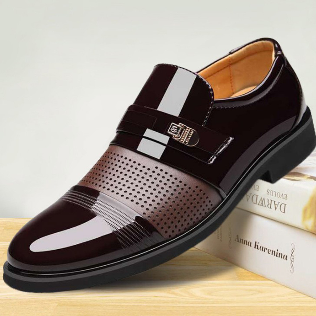 Luxury Brand PU Leather Fashion Men Business Dress Loafers Pointed Toe Black Shoes Oxford Breathable Formal Wedding Shoes