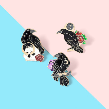 Black bird Backpack Badge gift brooch brooch Anti-glare brooch Rose flower crow brooch Lapel pins Crow brooch Flower crow brooch image