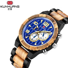 Handmade custom wooden watch men blue dial casual sports lux