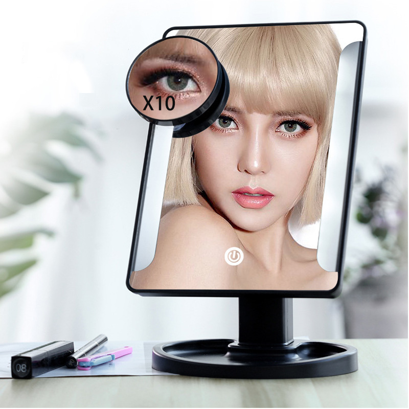 Light Strips On Both Sides 22 LED Lights Touch Screen Makeup Mirror 1X 10X Bright 180 Degree Adjustable USB Or Batteries Use
