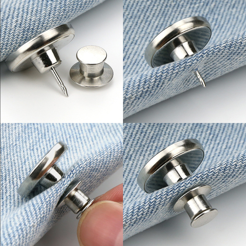 Newly 10 Pcs Retractable Jeans Button Adjustable Removable Stapleless Metal Button Zinc Alloy Round