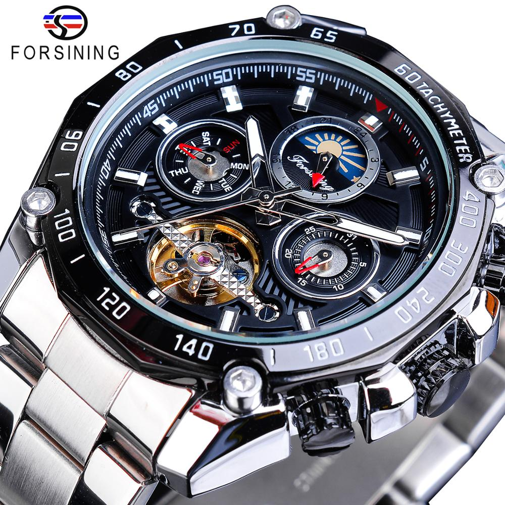 Forsining Brand Black Male Mechanical Watches Automatic Multifunction Tourbillon Moon Phase Date Racing Sport Steel Band Relogio