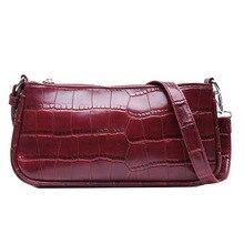 Vintage Alligator PU Leather Womens Handbags and Purses Zipper Hobos Baguette Bag Shoulder Bags Underarm Evening Clutch