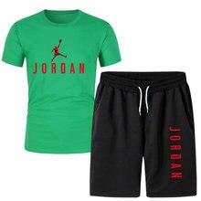2021new masculino camiseta conjunto de 2 peças calças esportivas terno basquete esportes de fitness jordan-23 impresso marca shorts + terno masculino