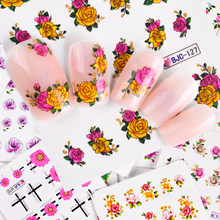 55Pcs 3D Colorful Beauty Nail Art Stickers Nails Flower Decals Creative Adhesive Set DIY Nail Art Decoration Manicure TRBJC55