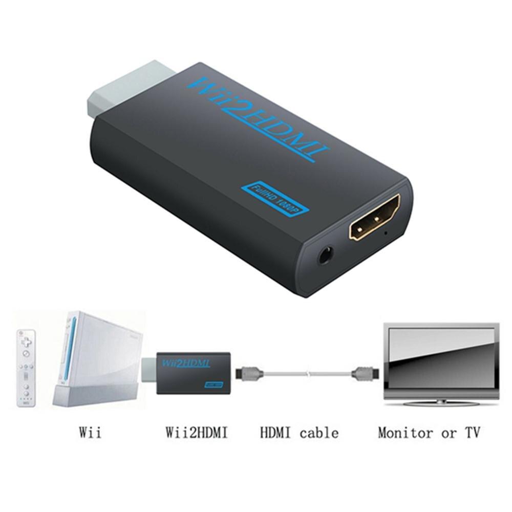 Wii para hdmi-adaptador conversor compatível 3.5mm jack aux saída de vídeo de áudio hd completo 720p 1080p para hdtv monitor de computador wii2