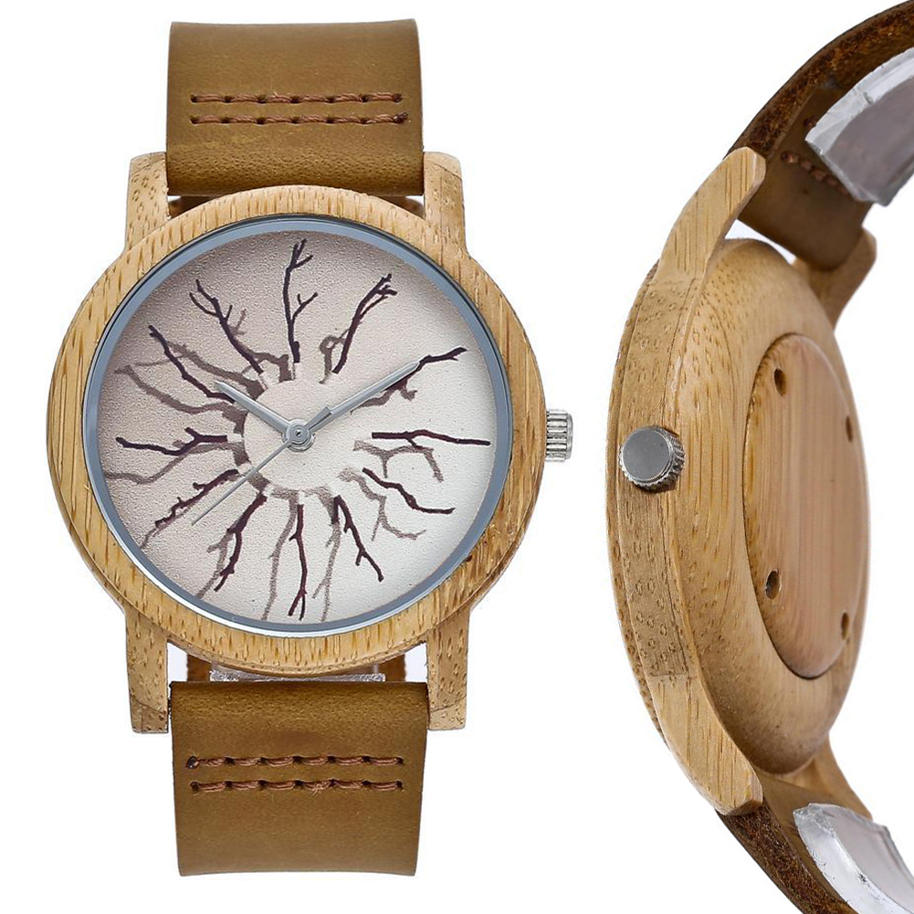 Wooden Watch For Lovers Couple Women Watches Unisex Branch Pattern Round Dial Faux Leather Strap Analog Quartz Wrist Watch