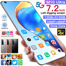 M10 ultra 7.2 Polegada versão global telefone ultra smartphone 48mp câmera quad traseira selfie 12gb + 512 snapdragon 865 um frete grátis