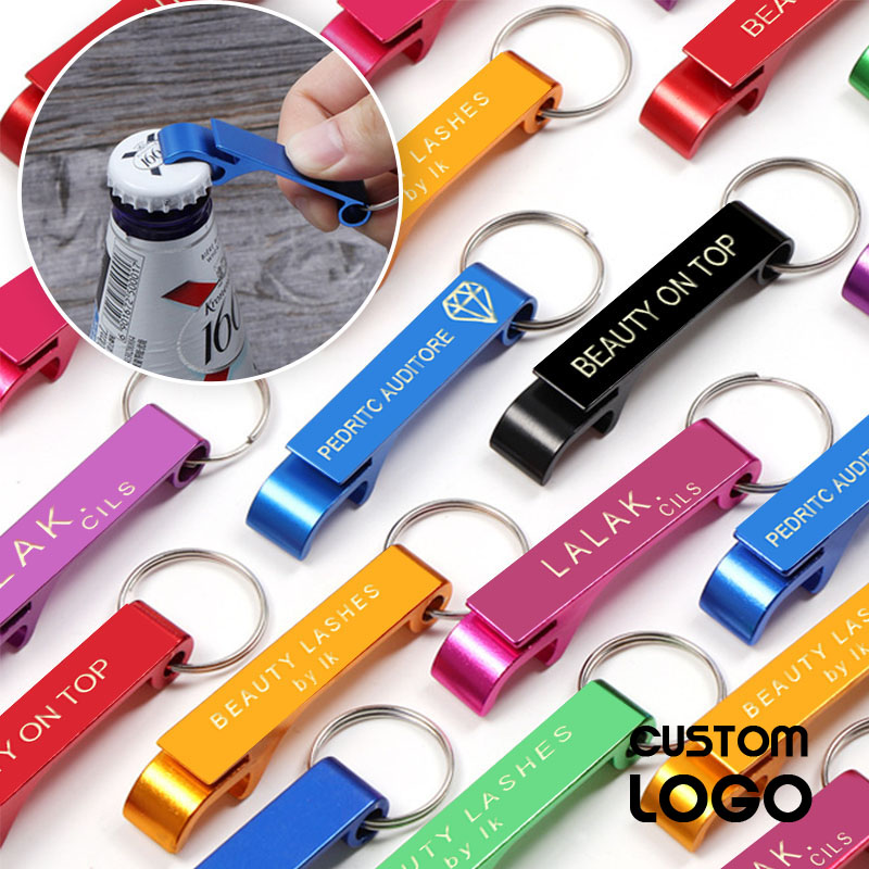 Beer Bottle Opener Protable Wedding Party Favor Gift Free Laser Engrave Logo Customized Keychain Bar Tool Drink Opener Brewery