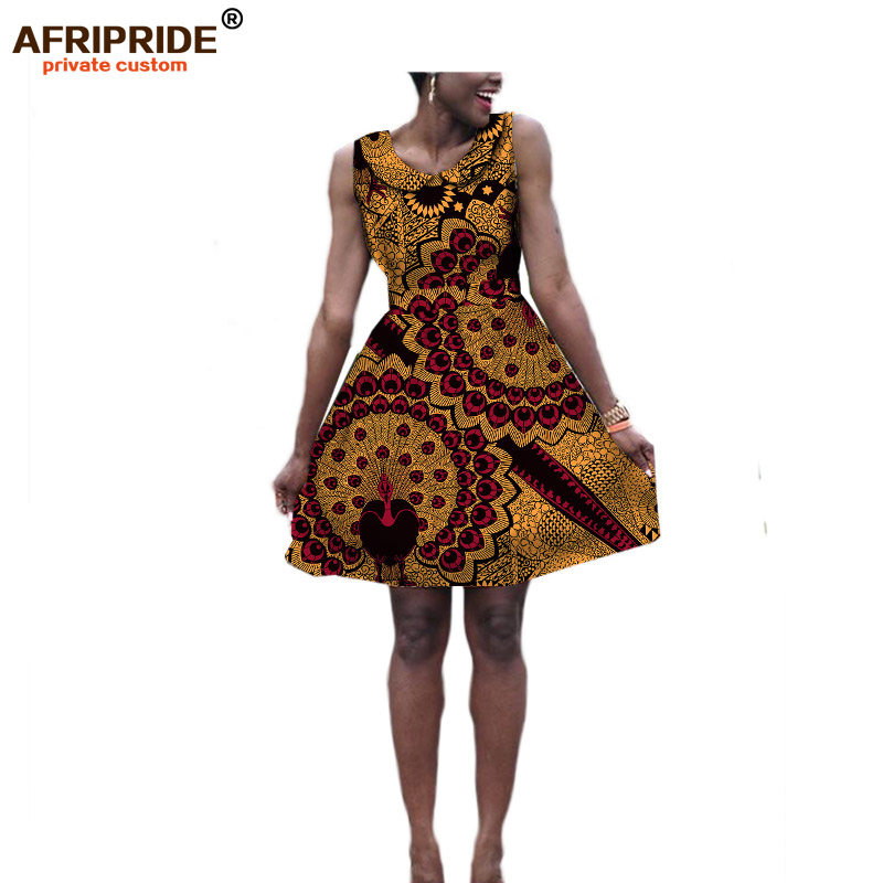 2019 Autumn women dress AFRIPRIDE african outfit print cotton sleeveless above knee double layer casual Ball Gown dress A722574 in Dresses from Women 39 s Clothing