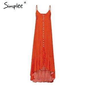 Image 4 - Simplee Elegant Polka dot boho women midi summer dress Sexy v neck strap button A line dress Female print beach vestidos