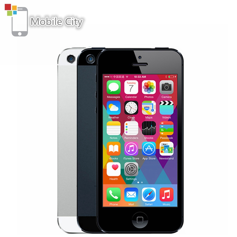 IPhone 5 Unlocked Mobile Phone 16GB/32GB/64GB ROM IOS 4.0 Inch 8MP WIFI GPS 100% Factory Original Apple Smartphone