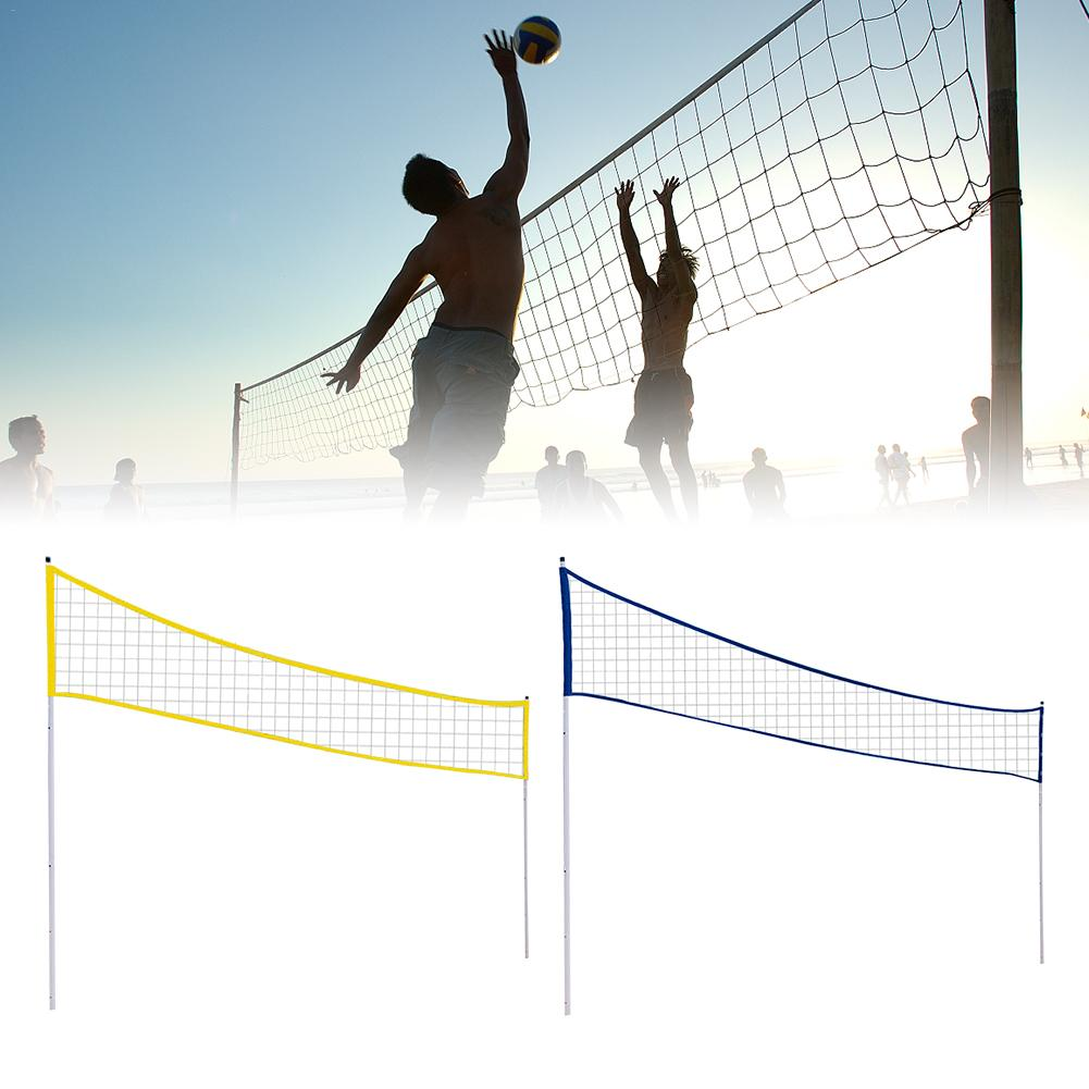Outdoor Portable Volleyball Net Folding Adjustable Badminton Tennis Net With Stand Pole For Beach Grass Park Outdoor Venues