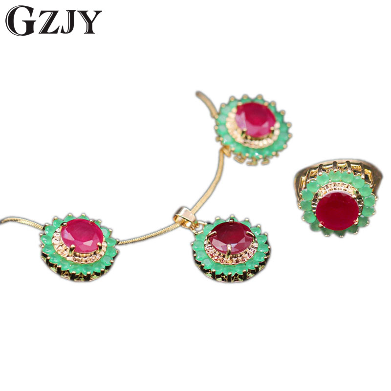 GZJY Fashion Champagne Gold Color Round Red Green Stone Zircon Pendant Necklace Earring Ring Set For Women Wedding Party Jewelry(China)