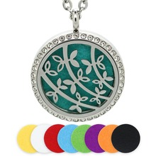 BOFEE Aromatherapy Diffuser Locket Necklace Pendant Charm Essential Oil Magnetic Flower Stainless Steel Jewelry Chain Gift 30MM