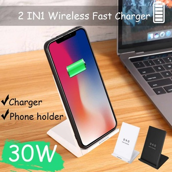 NEW 30W Double coil Qi Wireless Fast Charger Vertical Quick Charging Bracket High Power Docking Stand For mate30 pro/mi9 pro