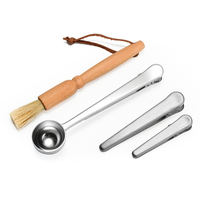 4 Piece Coffee Grinder Cleaning Brush Coffee Set Include Cleaning Brush/Grinder Brushes Stainless Steel 2 In 1 Coffee Measurin   -