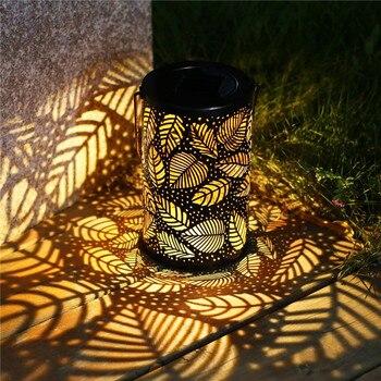Creative Outdoor Solar Lantern Lights Garden Hanging Lights Metal Leaf Pattern Lights Lamp For Patio Outside Or Table Lamp DA
