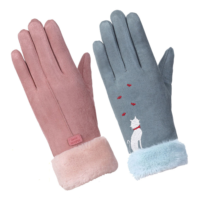 Mittens Gloves Touch-Screen Warm Outdoor Winter Women Fashionable Embroidery Furry Sparsil