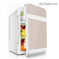 20l dupla refrigeração carro mini geladeira pequena casa mini dormitório carro casa dupla-uso único e porta dupla