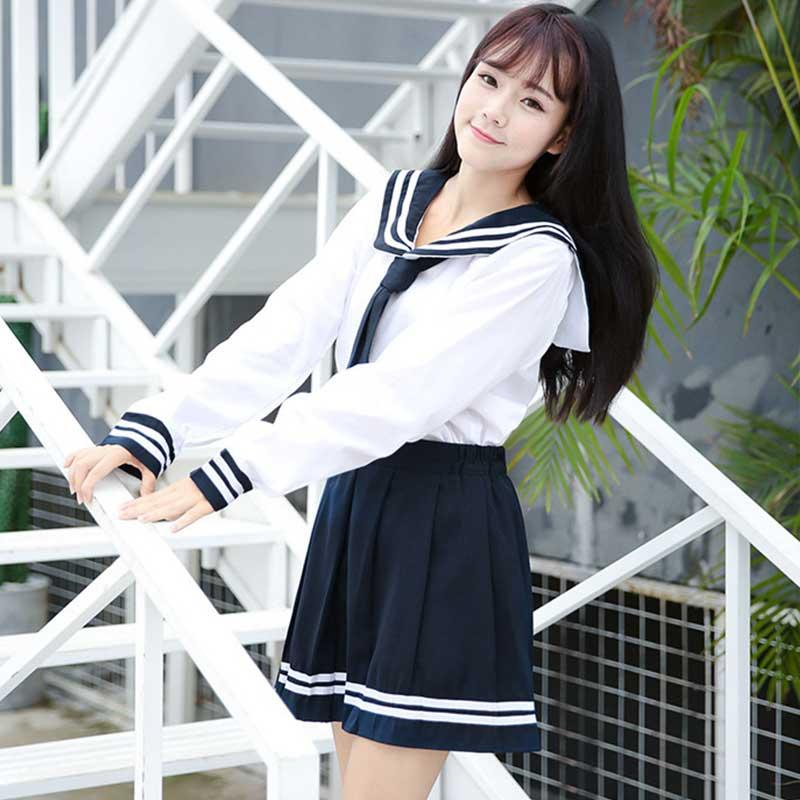 3pcs Anime School Uniform Cosplay Costume Japanese Korea Schoolgirl Navy Sailor JK Uniform Student Tops+Skirt+Tie Sets C30153AD