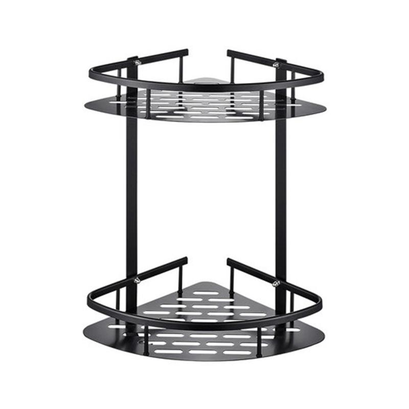 Punch Free Storage Rack Wall-Mounted Soap Shampoo Cosmetic Shelf Holder Organizer Double Layer Storage Stand For Home Bathroom
