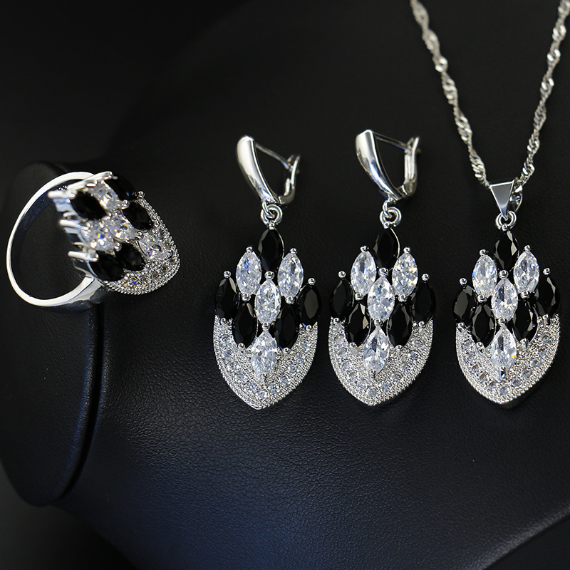 GZJY Women Fashion Colorful Crystal 925 Silver Jewelry Sets Drop Earrings Necklace Pendant Vintage Ring Bridal Wedding Jewelry(China)
