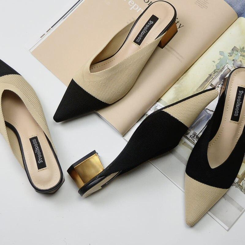 Nuevos zapatos de señora, mocasines de punto de pico con punta en pico, zapatillas de mujer de colores variados, zapatos de tacón de 4,5 CM Zapatos de fiesta rojos, negros, amarillos, para mujer, Gladiador Stiletto sandalias de, tacones altos sexis con cordones cruzados, sandalias de verano para mujer