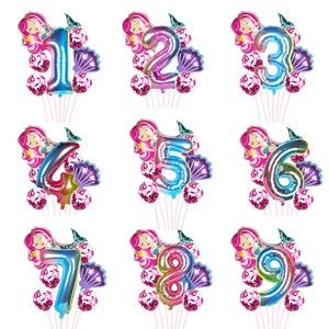 Mermaid Party Decoration Balloons Little Mermaid Number Balloons Kids 1st Birthday Party Under The Sea Party Decoration Supplies