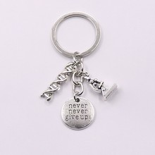 1Pcs Doctor Molecular DNA Microscope Keychain, Never Abandon Jewelry Keychain Gift DIY Handmade Jewelry(China)