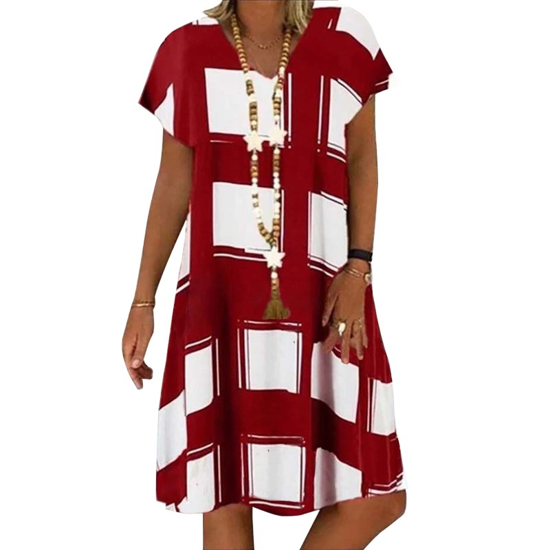Summer Lattice Print Casual Dress Women's V-neck Short Sleeve Vintage Dresses For Women Plus Size Beach Boho Loose Midi Dress 3