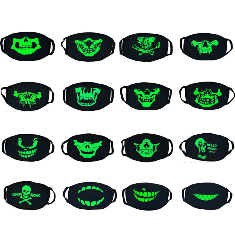Creative Thick Luminous Face Mouth Mask Personality Trend Horror Skull Halloween Breathable Men Women Black Cotton Mouth Mask