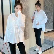 838# Autumn Korean Fashion White Cotton Maternity Blouses Loose Slim Waist Shirt Clothes for Pregnant Women Fall Pregnancy Tops