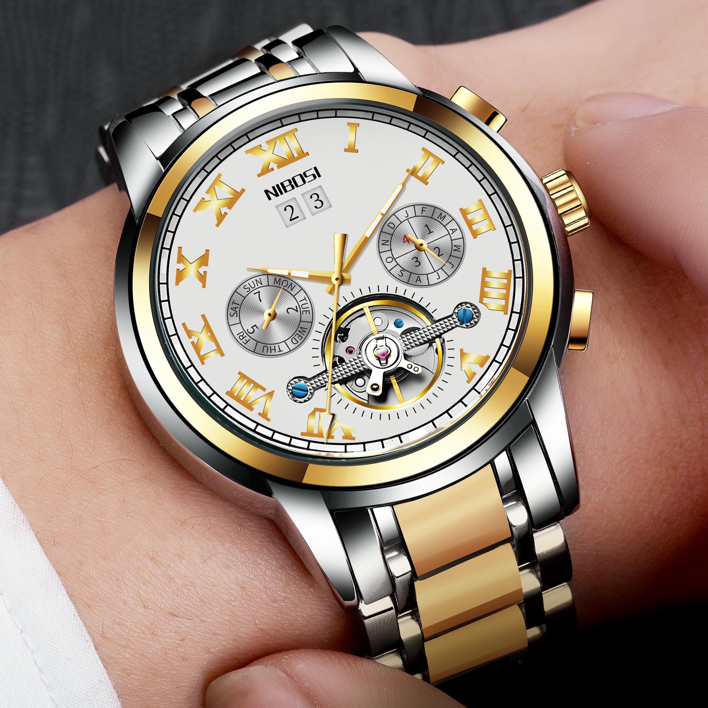 NIBOSI Mechanic Watch Top Brand Luxury Mens Watches Automatic Luxury Watch Men Sport Wristwatch mens reloj hombre Tourbillon 1