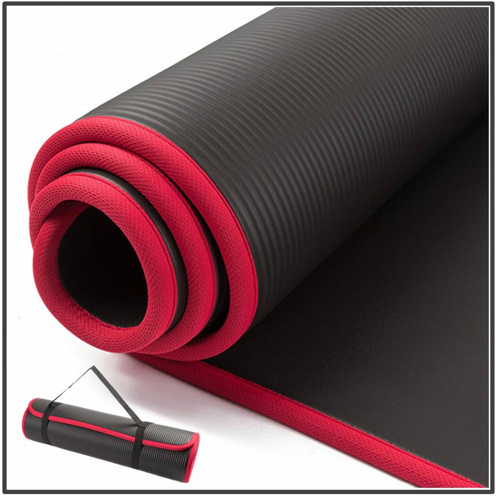 Extra Thick 183cmX61cm High Quality 10MM NRB Non-slip Yoga Mats For Fitness Tasteless Pilates Gym Exercise Pads With Bandages